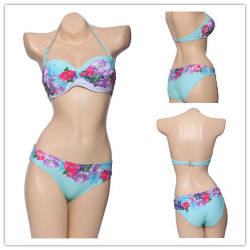 2014 Sexy biquini Beachwear Push Up Swimwear woman Floral Print Bikini Set Vintage Swimsuit Women Swim Wear saida de praia(China (Mainland))