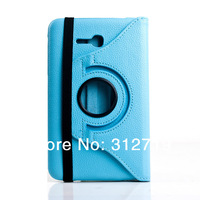 Light Blue Litchi For Samsung Galaxy Tab 3 Lite 7.0 SM-T110 T111  Rotate PU Leather Case Cover
