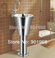 Wall fixed stainless steel 18/8 CE certify bathroom pedestal  sinks wash sinks