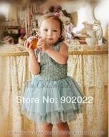 Free Shipping Children Clothing Girl's green flower ruffles evening dress