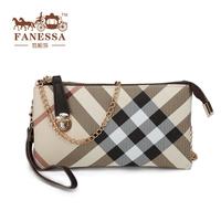 free shipping promotion sale 2013 fashion genuine leather plaid women's clutch handbag coin purse mobile phone bag clutch bag