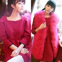 Free shipping spring puff sleeve rose dress woolen dress women's one-piece dress