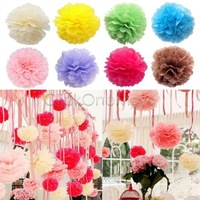 10 inch 25cm 100 pcs/lot  Hanging Tissue Paper Pom Poms Flower Ball Party Craft  Wedding Decoration Red Hot Pink Light Blue