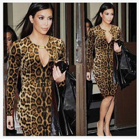 2014 NEWS women autumn dress  high quality leopard silm dresses full sleeve sexy clothes L0649