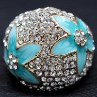Austrian Crystal Fashion Blue Enamel Flower Rings For Women 18K Gold Plated Imitation Diamond Jewelry (Dragon DFDR0116)