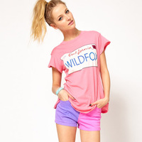 Wildfox california ca1997 print pink short-sleeve o-neck t-shirt female haoduoyi
