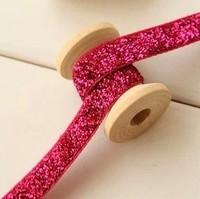 """Free shipping 3/8"""" Glitter Velvet Ribbon 10mm Elastic Metallic webbing golden tape red white ribbons gift packing accessories"""