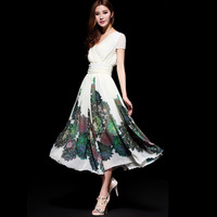 2014 spring and summer women's slim medium-long V-neck print short-sleeve chiffon one-piece dress