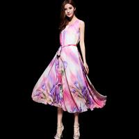 2014 spring and summer women's bohemia print slim vest design spaghetti strap medium-long one-piece dress