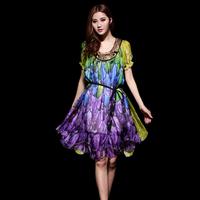 2014 spring and summer women's mulberry silk elegant print gentlewomen slim medium-long one-piece dress