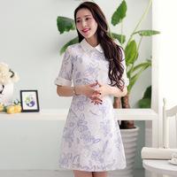 2014 spring and summer women's sweet print peter pan collar half sleeve slim hip a basic one-piece dress