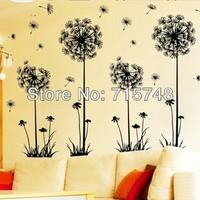 big size size 50-70cm,Wholesale Fly Dandelion With Black Color Removable DIY home Decoration 3D Wall Sticker