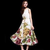 2014 spring and summer women's gentlewomen elegant loose print sleeveless spaghetti strap medium-long chiffon one-piece dress