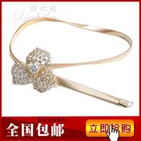 Women's genuine leather thin belt all-match belt fashion strap Women rhinestone tassel metal