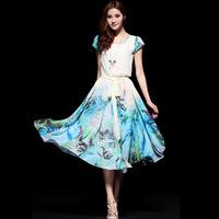 2014 spring and summer women's bohemia sweet medium-long slim o-neck chiffon jumpsuit full dress