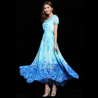2014 spring and summer women's elegant ruffle gentlewomen slim medium-long chiffon jumpsuit full dress