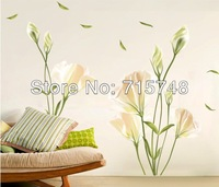 Wholesale Decoration lily flower sofa and TV background aesthetic flower sticker 100pcs/ lot