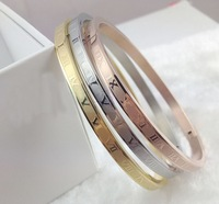 Hot Sale 4mm Width Roman numerals Clasp Three Colors Gold Plated Stainless Steel Bangle Bracelets