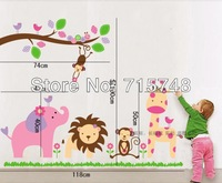 Free Shipping Via ExpressNew Pink Cute Zoo With Tree And Animal Kindergarten Removable Wall Decals Factory Sell