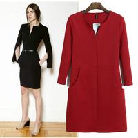 HOT dress 2014 Women winter dress Slim package hip dress slit sleeves Sleeve party dresses desigual