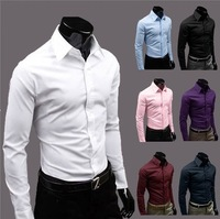 2014 Mens Slim fit Unique neckline stylish Dress long Sleeve Shirts Mens dress shirt 17colors ,size: M-XXXL