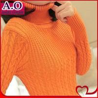 Free shipping turtleneck sweater all-match knitted wool and cotton cardigan New fashion 2014 women basic shirt