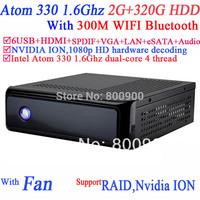 IPTV mini pc ITX Computer HTPC with NVIDIA ION MCP7A Intel Atom 330 4 thread 1.6Ghz 1080p HD hardware decoding 2G RAM 320G HDD