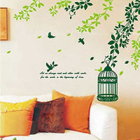 Three generations of wall stickers sofa tv wall background stickers wall decoration bird cage