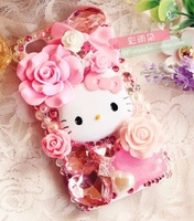 2014 Cute hello kitty bling diamond mobile phone case protector for Samsung galaxy  I9300 I9500 Drop shipping free ePacket