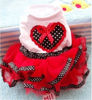 factory saleh heart bowknot red white princess dress dog skirt  whole sale free shipping