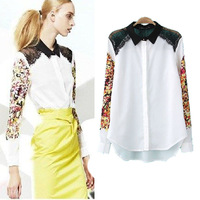 Fashion Women Clothing 2014 Desigual  Plus Size Chiffon Blouses & Shirts Print Brand Vintage Tops for Women Lace Blouse