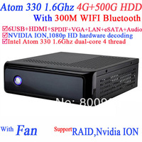 MINI PC Server itx HTPC with NVIDIA ION MCP7A Intel Atom 330 dualcore 4 thread 1.6G 1080p HD hardware decoding 4G RAM 500G HDD