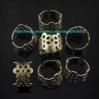 Antique Bronze Flower Ring Base Findings Fit Charms Free Shipping
