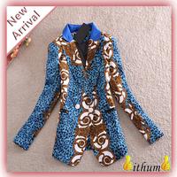 spring 2014 Blazer women long sleeve Vintage floral blazer slim double breasted blazer jacket suits for women
