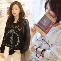 2014 New Fashion Rabbit Pattern Printing Stitching Lace Bat Sleeve Casual Lady Shirt Big Yards