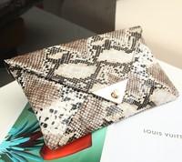 2014 New Fashion Women's Leather Messenger Bag Snake Skin Envelope Bag Vintage Day Clutches Evening Bag Free Shipping