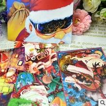 5sets/lot5pcs/set 15*10cm Santa Claus postcards Holiday Postcard card busy hand drawn illustrations greeting cards free shipping(China (Mainland))