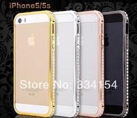 For iphone 5/5s bumper 4 colors Luxury Crystal Rhinestone Diamond Gold Slim Shining Bling free shipping