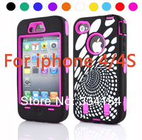 New For iphone 4/4s Drop shock Spiral pattern Protective Silicone Hard Case
