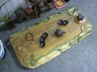 Green sandalwood teaberries carving fish ebony wood mahogany wood tea sea tea sets kung fu tea