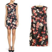 Spring 2014 new European and American women's wholesale flower print dress black dress xli-2415