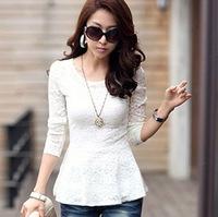 2014 new Women Korean long-sleeve T-shirt,plus size elastic lace shirt,peplum OL blouses