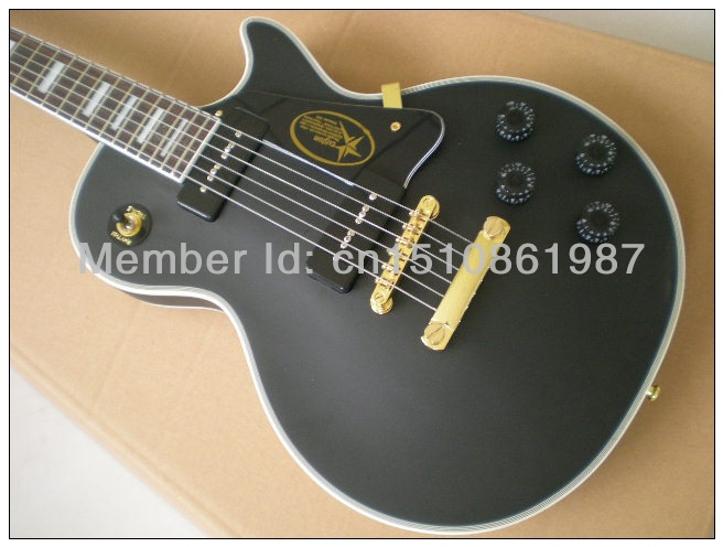 Free shipping Chiese musical instrument g custom gbson les black paul matte lp electric guitar(China (Mainland))