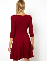 European and American winter dress waist knit pullover V -neck placket 7 points sleeve dress women's Factory Outlet