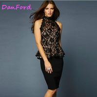 Women Black Plus Size Lace Hollow Out Shirts For Women  DF-00203