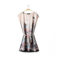 Factory direct 2014 spring and summer new European style bird prints positioning Dress with Belt Belt