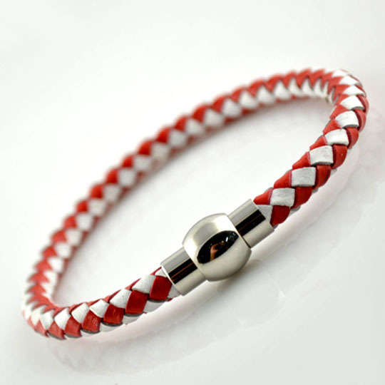 Cheap Genuine Leather Red and White Color Knitted Bracelet 7.5'' Fashion Bracelet For Men and Women(China (Mainland))