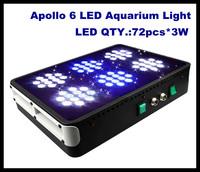 4pcs/lot free shipping  Apollo 6 72*3W LED Aquarium Light fish marine coal reef aquarium led lighting made in China