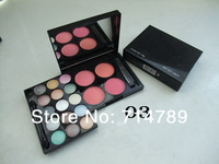 free shipping new makeup 15 colors EYE SHADOW eyeshadow + 4 colors blush blusher with brush(10PCS/LOT)5 color choose