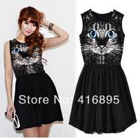 New Women Girl Fashion Blue Eyes Cat Print Sleeveless Cotton Vest Dress Sundress Free Shipping 03190114
